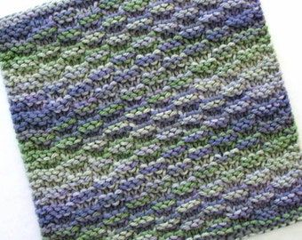 Knit Dishcloth, Cotton Washcloth, Tuscan Kitchen Decor, Purple and Green Kitchen