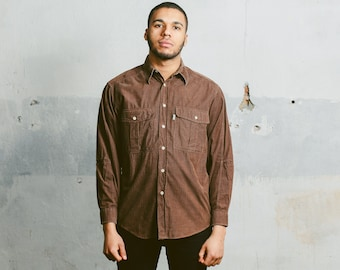 Vintage CORDUROY Shirt . Mens 90s Brown Button Down Shirt Retro 1990s Grunge Normcore Man Boyfriend Gift . Medium Large