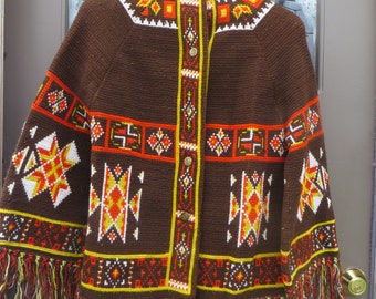 1950  vintage  HIPPIE BOHO  navajo  blanket FRINGE   cardigan with vintage Indian head brass pennys buttons