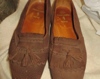retro Polo Ralph Lauren  brown suede   LEATHER  KILTIE Tassel loafer  Bench   made in ENGLAND