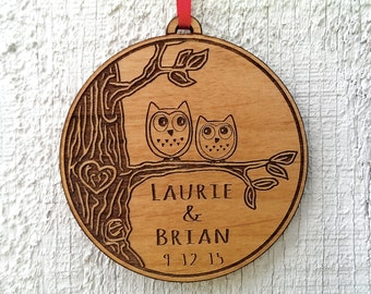 Love Birds Owl Heart Personalized Christmas Ornament for Him Her Couples Gift Christmas Ornament ...