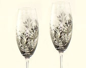 Hand-Painted 25th Anniversary CRYSTAL Champagne Flutes - Silver and Black Roses Set of 2 - Personalized Wedding Anniversary Gifts