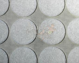 Adhesive Felt Circles, felt dots, 1.5 inch felt for headbands and bows, 12 felt dots per sheet - White