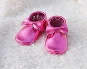 HOT PINK Metallic Leather Moccasins handmade moccs for babies and toddlers custom