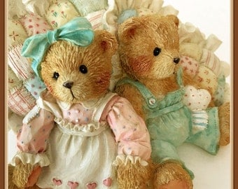 "Cherished Teddies Figurine, ""A Friendship Is A Cozy Feeling"", Michelle and Michael, Vintage 1992"