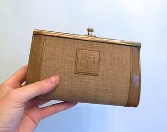 ON SALE vintage.  60s 70s Anne Klein Structured Taupe Makeup Case