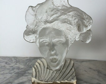 Glass Art Face, The Scream, Sand Cast Head Sculpture with Ceramic Base, Singing Woman Bust Portrait with Optical Lens Hair
