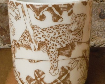 Vintage Wild Habitat Leopard Coffee Mug Shafford Cup Animals Porcelain Brown