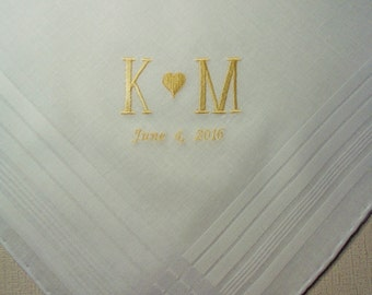 MONOGRAM GROOM Handkerchief Custom Personalized Wedding Embroidered Hankerchief