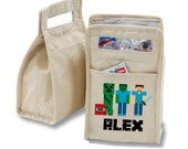 Personalized Building Blocks Crafting Insulated Cotton Lunch Bag - Personalized with Any Name and You Choose the Font!