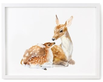 Deer Watercolor Print, Fawn Print, Deer and Fawn Art, Deer Wall Decor