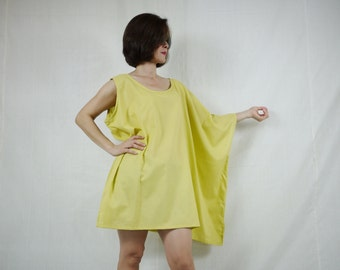 Sleeveless With One-Side Poncho Styling Wide Scoop Neck Asymmetrical Hem Azo Free Color Yellow Light Cotton Blouse Tunic Top