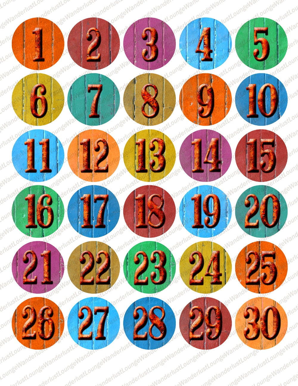 printable number labels 1-30 1.5 inch circles wood+rust ...