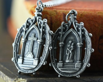 Sterling Cross Necklace, Mary and Jesus Pendant Necklace, Catholic Charm, Double Sided, Reproduction of Antique