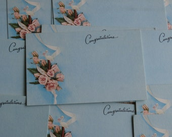 12 Congratulations New Baby Tiny Florist Insert Cards or Tags, Vintage Stork and Roses