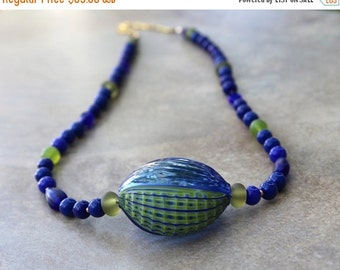 On Sale Rare Blue Green Millefiori Blown Glass Pendant Necklace Lime and Ocean Blue Vintage Glass Beads Ocean Jewelry