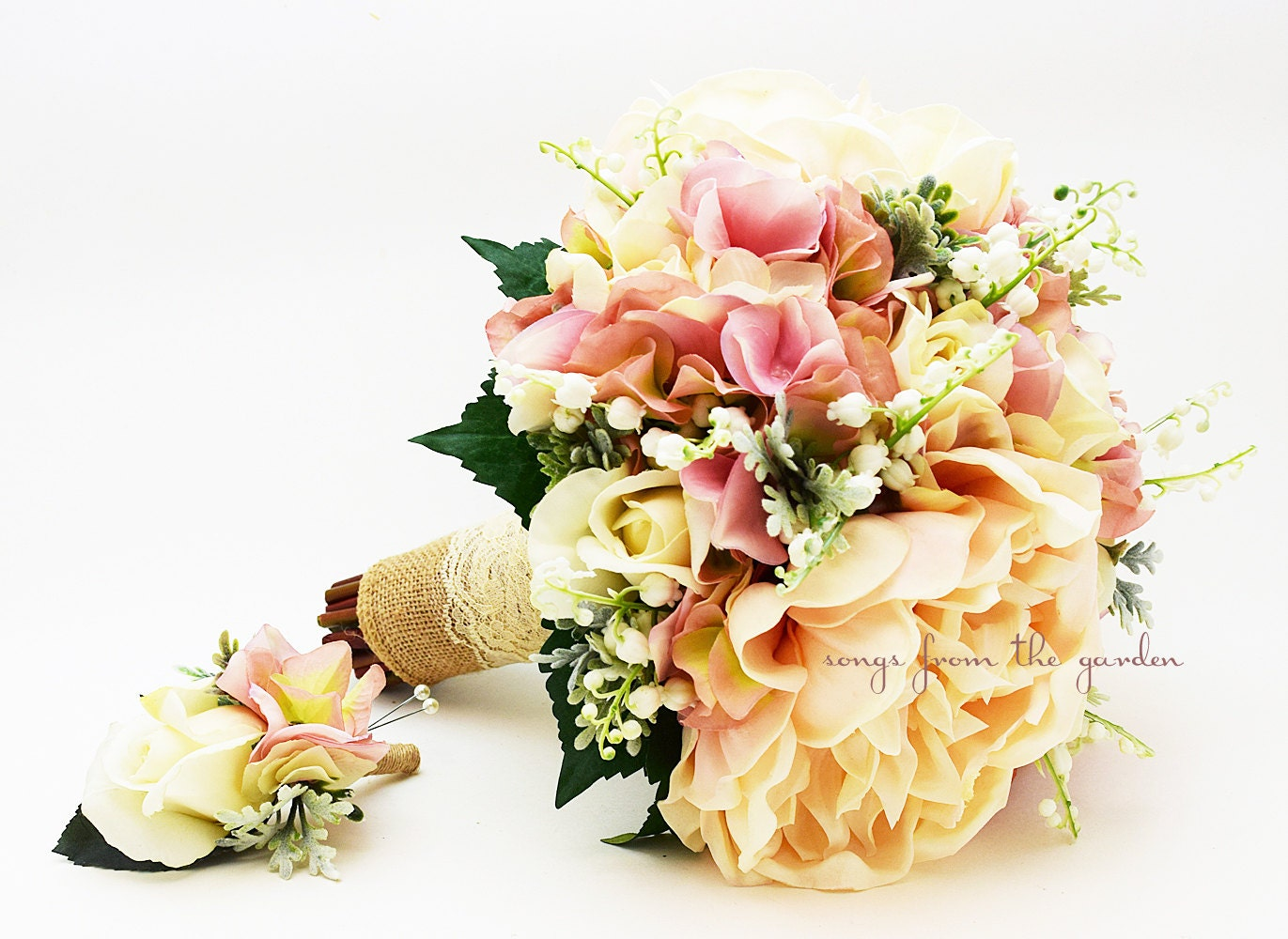 Lily Of The Valley Wedding Bouquet: Rustic Romantic Bridal Bouquet Lily Of The Valley Peonies