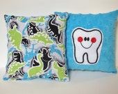Tooth Fairy Pillow, Dinosaur Pillow, Tooth Pillow with Pocket, Child Pillow, Doll Pillow, Boy Tooth Pillow
