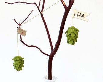 Beer hop decor, felt hop loop with IPA flag, Christmas ornament, rear view mirror charm, beer lover gift