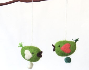 Valentine ornaments needle felted miniature bird pair - green birds with white and pink heart wings