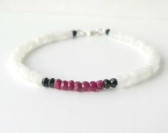 Moonstone Bracelet / Moonstone Bracelet with Ruby and Black Spinel / June Birthstone / Clasp Bracelet / Delicate Gemstone Bracelet