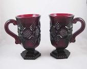 Avon Cape Cod 1876 Collection Ruby Red Glass Pedestal Mugs (2) Original Box