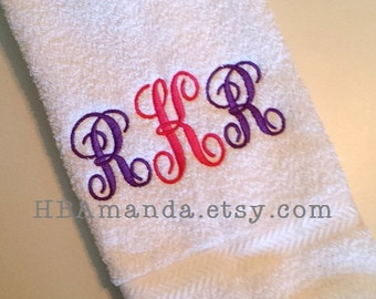 Traditional Monogram SET OF 2 hand towels - Monogram 3 Initials Towels - Gift wrapping included