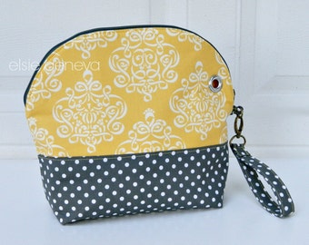 Curved Crochet or Knitting Project Bag Pouch Yellow Damask and Grey Dots with Wristlet and Grommet Hole - Travel Yarn Bowl - Ready to Ship