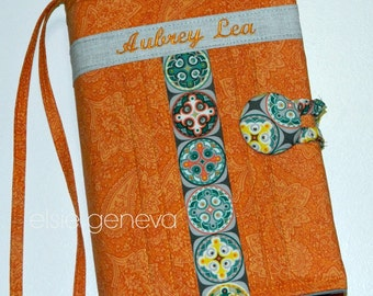 Made to Fit Personalized Orange Paisley Teal Grey Geometric Bible Journal Cover Case Optional Sewn In Zipper Pocket Handles Shoulder Strap
