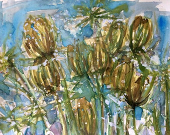 Queen Anne's Lace no. 4 Original Watercolor and Acrylic Painting by Angela Moulton 8 x 10 inch with 11 x 14 inch mat