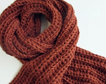 ON SALE Long Brown Knit Scarf - Classic Mens Rib Scarves - Crochet - Terracotta
