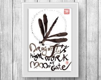 Dragonfly zen painting, Zen fine art sumi ink painting, Dragonfly enso, moon, japanese illustration, issa haiku, zen decor, zen decor art