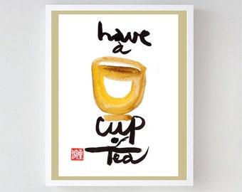 "Zen Art Calligraphy ""Have a Cup of Tea"" enso, Sumi-e Ink Painting, Zen Koan painting, zen decor, japanese tea ceremony, enso, buddhist art"