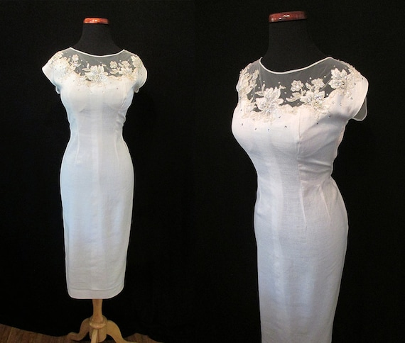 "CLEARANCE Gorgeous 1950s Designer Cocktail Party Dress Elusion Neckline & Rhinestones by ""Lora Pack"" Rockabilly VLV Curve Hugging Size-Large"