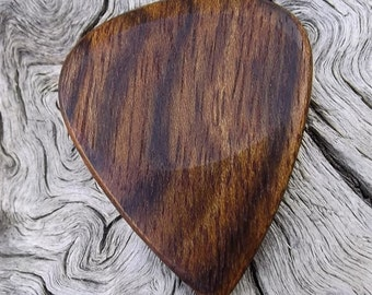 Wood Guitar Pick - Premium Quality - Handmade With Caribbean Rosewood - Actual Pick Shown - Artisan Guitar Pick
