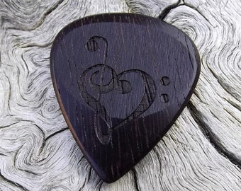 Wood Guitar Pick - Premium Quality - Handmade With Brazilian Ebony - Laser Engraved Both Sides - Actual Pick Shown - Mini Guitar Pick
