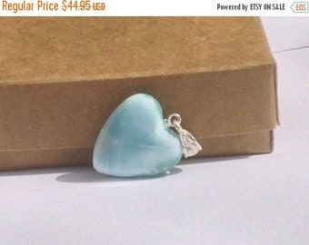 ON SALE Larimar Jewelry Aquamarine Larimar heart pendant Blue Larimar heart blue jewelry