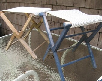 Vintage Pair of Folding Camp Stools w/ Metal Reinforcement and New Genuine Vintage Ticking Fabric Seats