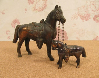 Pair Vintage Mid Century Copper Color Pot Metal Horse and Saddle Figurines- Lots of Detail