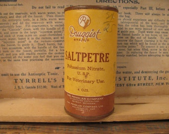 Antique Veterinary Saltpetre Container - Potassium Nitrate - Pharmacy - Medicine - Unopened