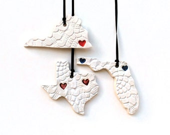 SALE: State Ornament, Lace Pattern with Heart, Custom, Ceramic, Pottery, Handmade - State shape - Christmas Ornament