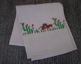 Vintage Linen Tea Towel with Donkey and Cactus Motif Southwest Decor