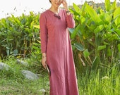 Chinese folk style button Neck Spring dress Long Sleeve Sundress Maxi Dresss in Red(more colour and size choice)