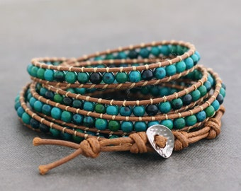 Chrysocolla 5x Rust Brown Wrap Bracelet