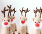 Needle felted miniature pocket reindeer