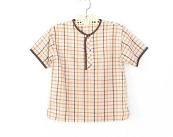 60s Shirt * Vintage Child Tee * 1960s Henley shirt * Plaid Little Boys Shirt * child size