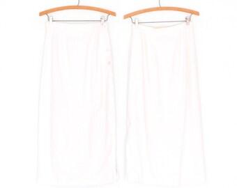 80s Linen Skirt * Vintage Pencil Skirt * White Linen Skirt * XS Small