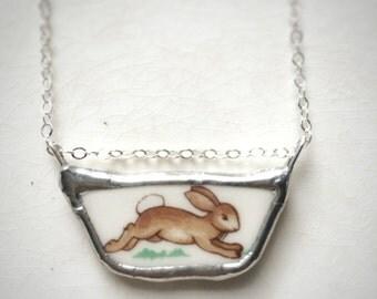 Vintage Bunny Ceramic Necklace from Bunnykins