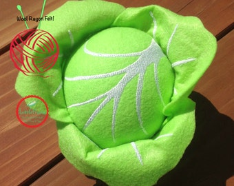 Felt Green Cabbage Kids Plush Play Food - Felt Red Cabbage Pretend Play Food