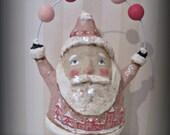 Pink Santa Claus- Folk art- paper mache- figurine- folk art doll-hand made doll papier mache
